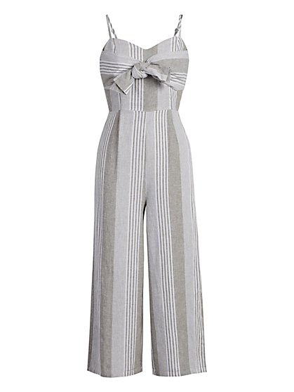 Linen-Blend Bow-Front Wide-Leg Jumpsuit - New York & Company