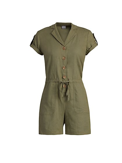 Linen-Blend Button-Front Romper - New York & Company