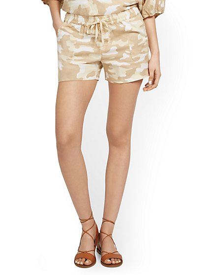 Linen-Blend Camo-Print Drawstring Short - New York & Company