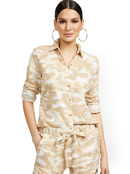 Linen-Blend Camo-Print Shirt - New York & Company