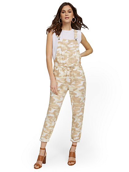 Linen-Blend Camo-Print Soft Overall - New York & Company