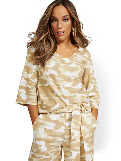 Linen-Blend Camo-Print V-Neck Button-Back Top - New York & Company
