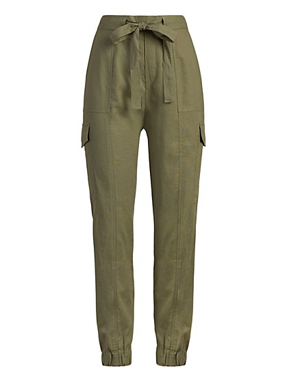 Linen-Blend Cargo Jogger Pant - New York & Company