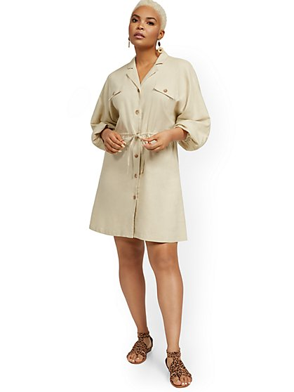 Linen-Blend Dolman Shirtdress - New York & Company