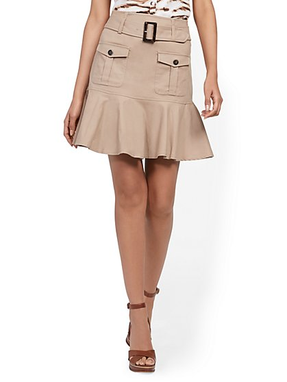 Linen-Blend Flounced-Hem Cargo Skirt - New York & Company