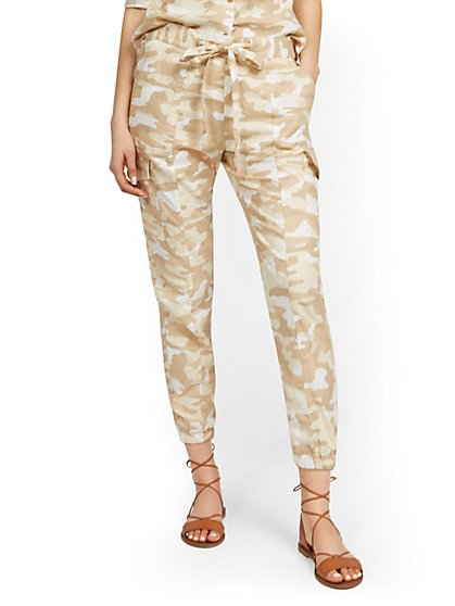 Linen-Blend High-Waisted Cargo Jogger Pant - Camo-Print - New York & Company