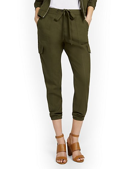 Linen-Blend High-Waisted Cargo Jogger Pant - New York & Company