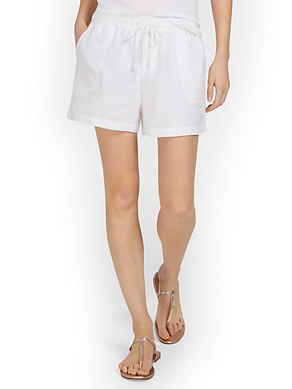 Linen-Blend High-Waisted Drawstring Short - New York & Company