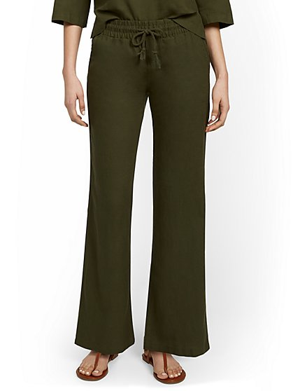 Linen-Blend High-Waisted Drawstring Wide-Leg Pant - New York & Company
