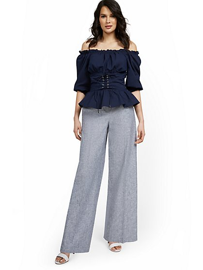 Linen-Blend High-Waisted Tie-Front Wide-Leg Pant - New York & Company