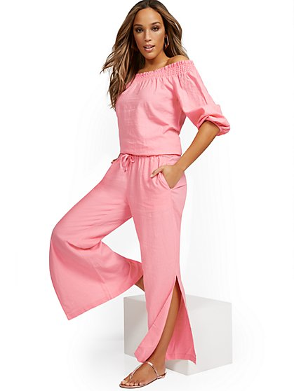 Linen-Blend High-Waisted Wide-Leg Slit-Hem Pant - New York & Company
