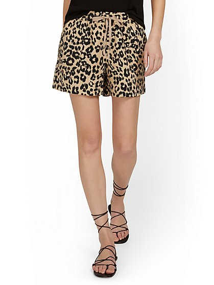 Linen-Blend Leopard-Print Drawstring Short - New York & Company
