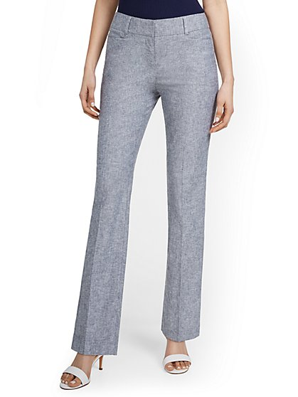 Linen-Blend Mid-Rise Straight-Leg Pant - New York & Company