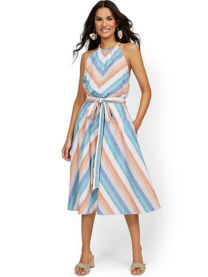 Linen-Blend Multi-Stripe High Halter Midi Dress - New York & Company