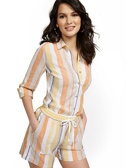 Linen-Blend Multicolor Striped Shirt - New York & Company