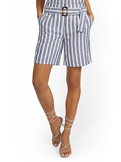 Linen-Blend Nautical Stripe High-Waisted Short - New York & Company