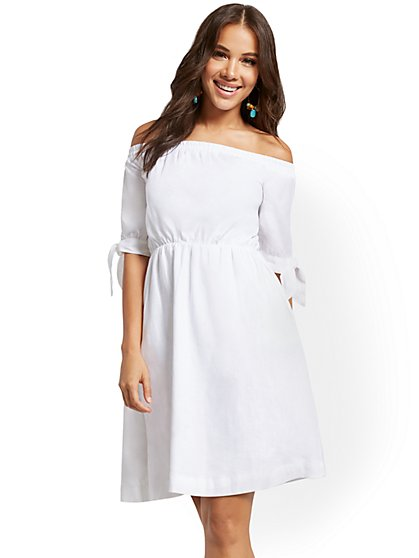 Linen-Blend Off-The-Shoulder Shift Dress - New York & Company