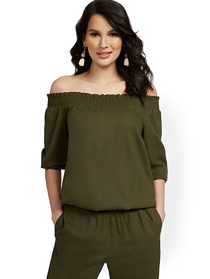 Linen-Blend Off-The-Shoulder Smocked Top - New York & Company