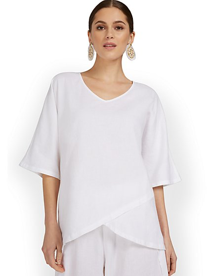 Linen-Blend Overlap Tunic Top - New York & Company