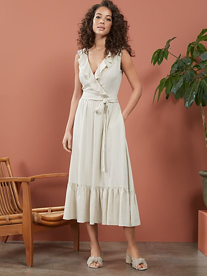 Linen-Blend Ruffle Midi Wrap Dress - New York & Company