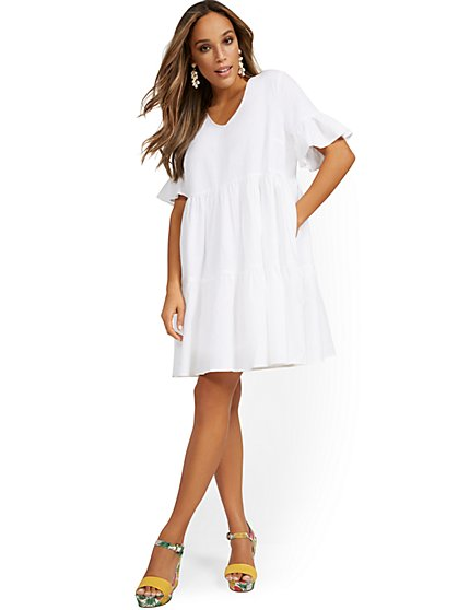 Linen-Blend Ruffle-Sleeve V-Neck Dress - New York & Company