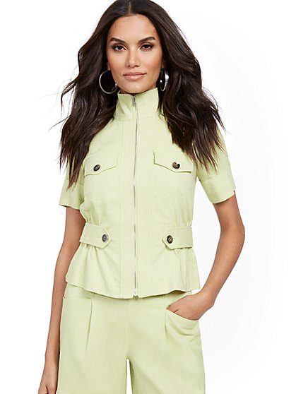 Linen-Blend Safari Jacket - New York & Company