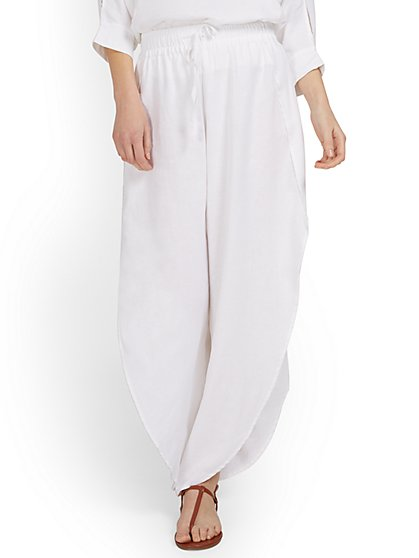 Linen-Blend Slit-Leg Pant - New York & Company