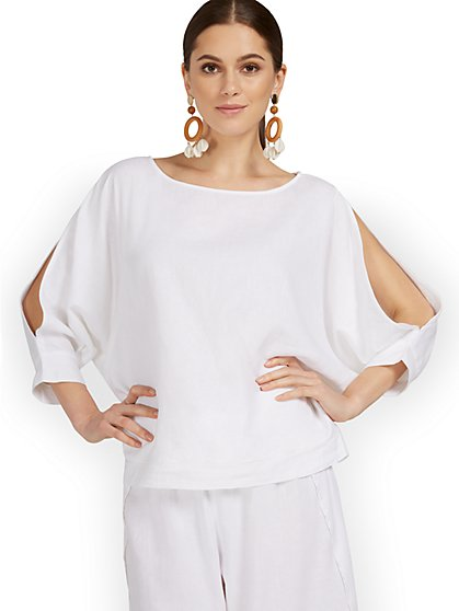 Linen-Blend Slit-Sleeve Top - New York & Company