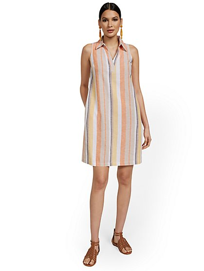 Linen-Blend Split-Neck Tank Dress - Stripe - New York & Company