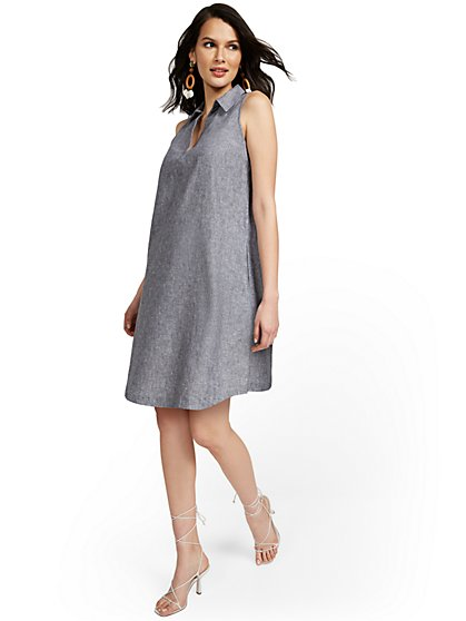 Linen-Blend Split-Neck Tank Dress - New York & Company