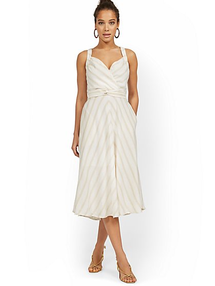 Linen-Blend Stripe Halter Midi Dress - New York & Company