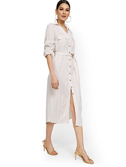 Linen-Blend Stripe Midi Shirtdress - New York & Company