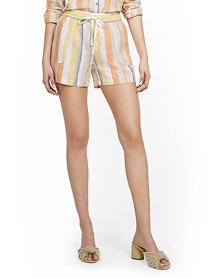 Linen-Blend Striped High-Waisted Drawstring Short - New York & Company