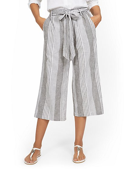 Linen-Blend Striped High-Waisted Paperbag Wide-Leg Capri Pant - New York & Company