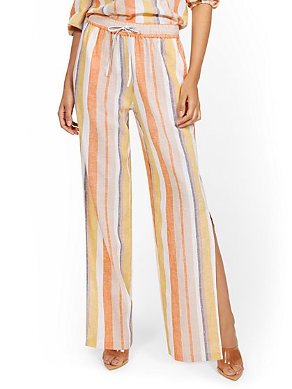 Linen-Blend Striped High-Waisted Slit-Hem Wide-Leg Pant - New York & Company