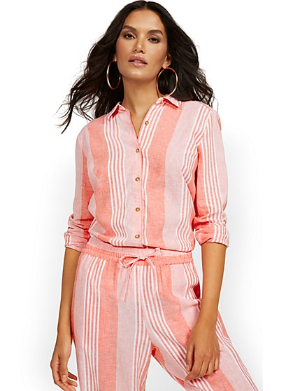Linen-Blend Striped Shirt - New York & Company