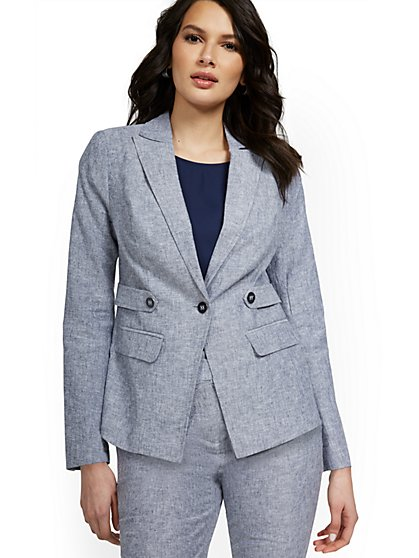 Linen-Blend Tab-Front Button Blazer - New York & Company
