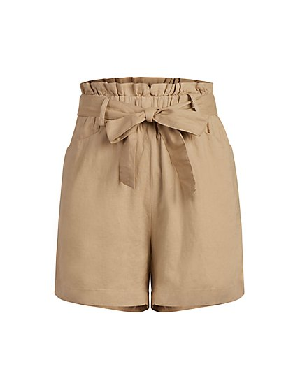Linen-Blend Tie-Waist Short - New York & Company