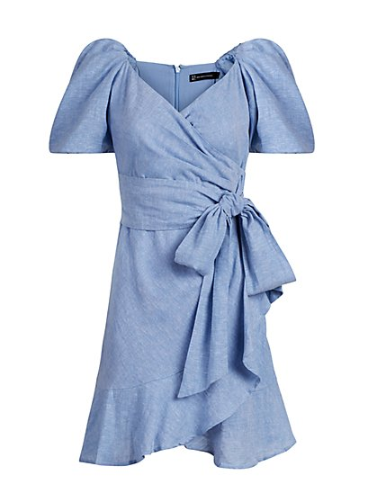 Linen-Blend Wrap Dress - New York & Company