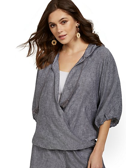 Linen-Blend Wrap Hoodie - New York & Company