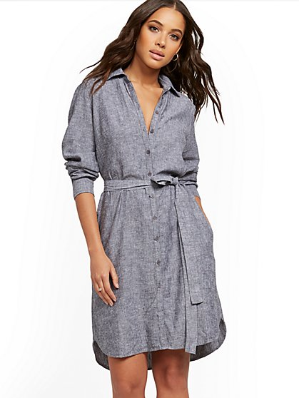 Linen Button-Front Dress - New York & Company