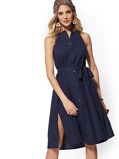 e93e95b4fb4 Linen Button-Front Halter Flare Dress - New York   Company ...