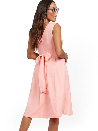 Linen Fit and Flare Flare Dress - New York & Company