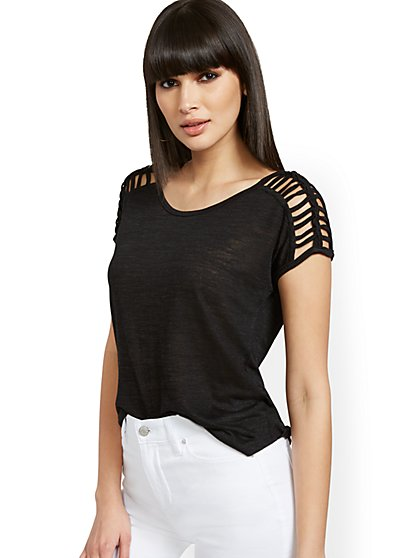Linen-Like Lattice-Sleeve Top - New York & Company