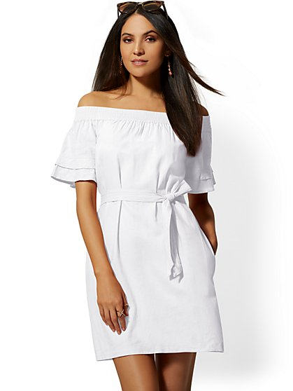 Linen Off-The-Shoulder Shift Dress - New York & Company