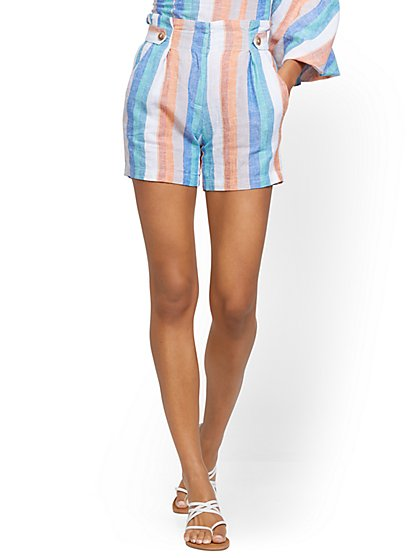Linen Tab Short - Stripe - New York & Company
