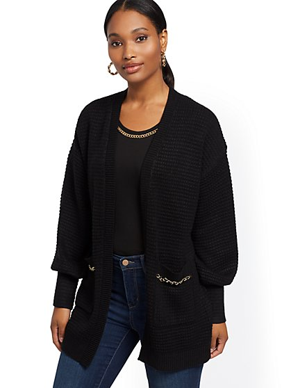 Link-Accent Textured Cardigan - New York & Company