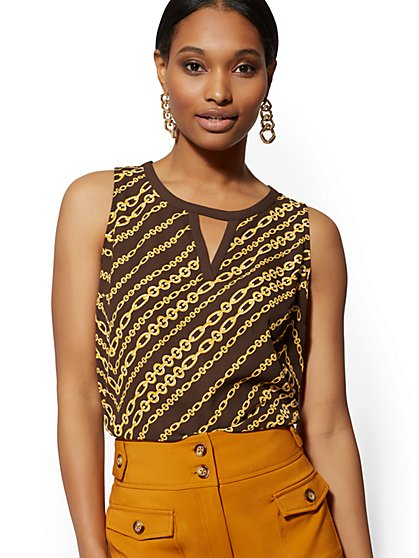 Link-Print Chiffon-Overlay Sleeveless Top - New York & Company