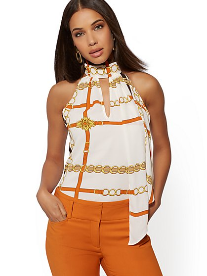 Link-Print Halter Blouse - 7th Avenue - New York & Company