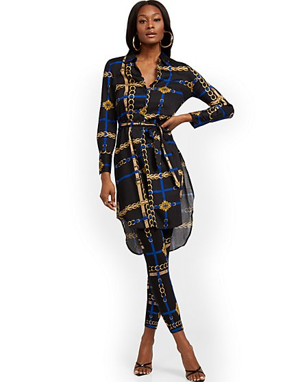 Link-Print Poplin Tunic Shirt - 7th Avenue - New York & Company